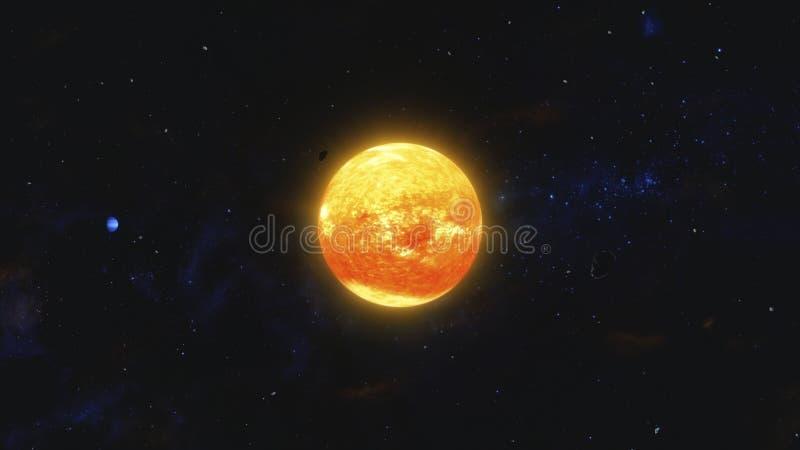 Weltraummüll und umkreisender roter Stern des Gasplaneten Weltraum, kosmische Kunst und Zukunftsroman-Konzept vektor abbildung