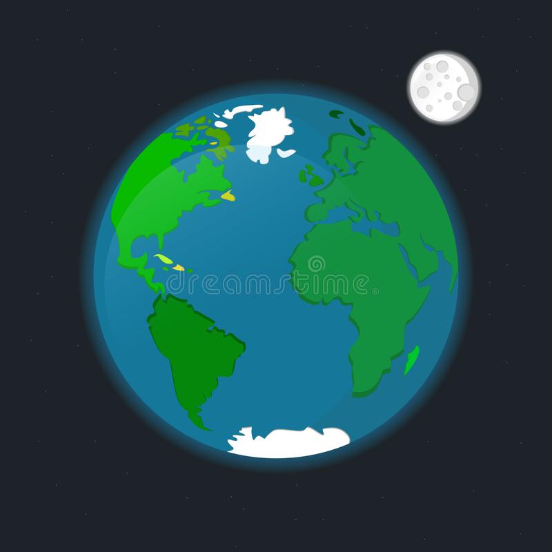 Weltraumplanet Erdsatellit Mond spielt Vektorillustration die Hauptrolle vektor abbildung