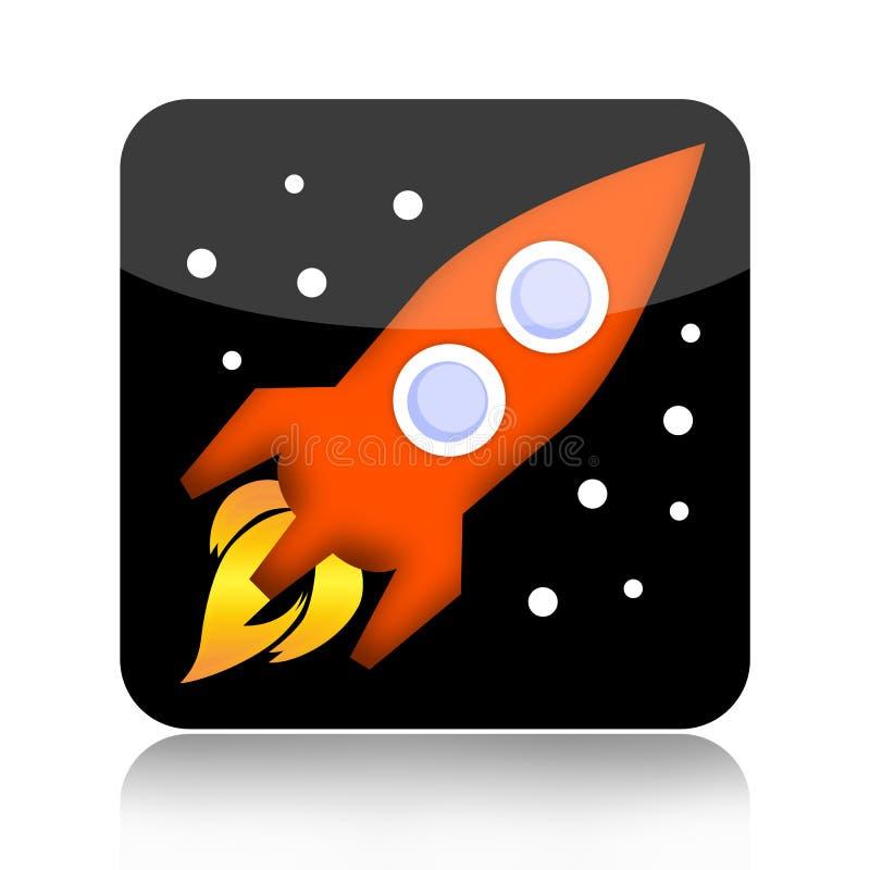 Weltraumraketeikone lizenzfreies stockbild