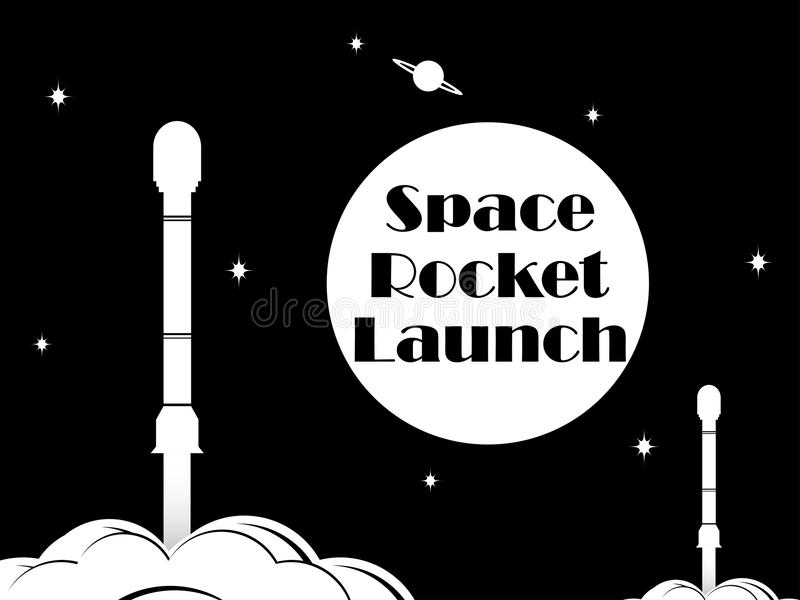 Weltraumraketeprodukteinführung Schwarzweiss-Typografie, T-Shirt Druck Vektor lizenzfreie abbildung