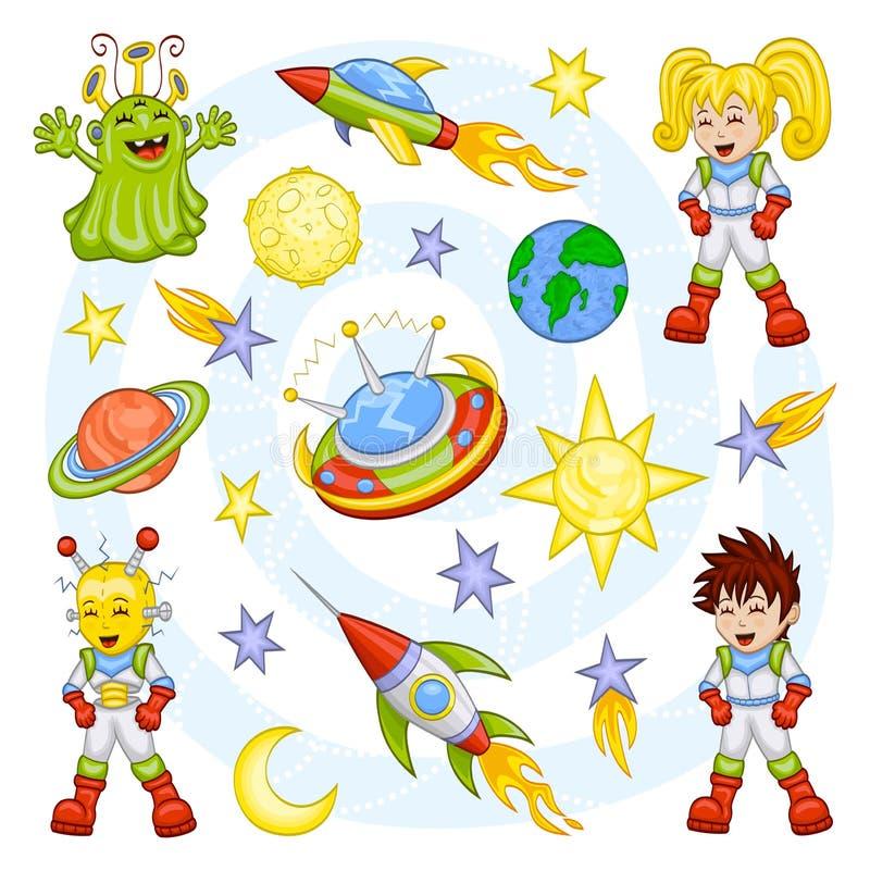 Weltraumset der Karikatur stock abbildung
