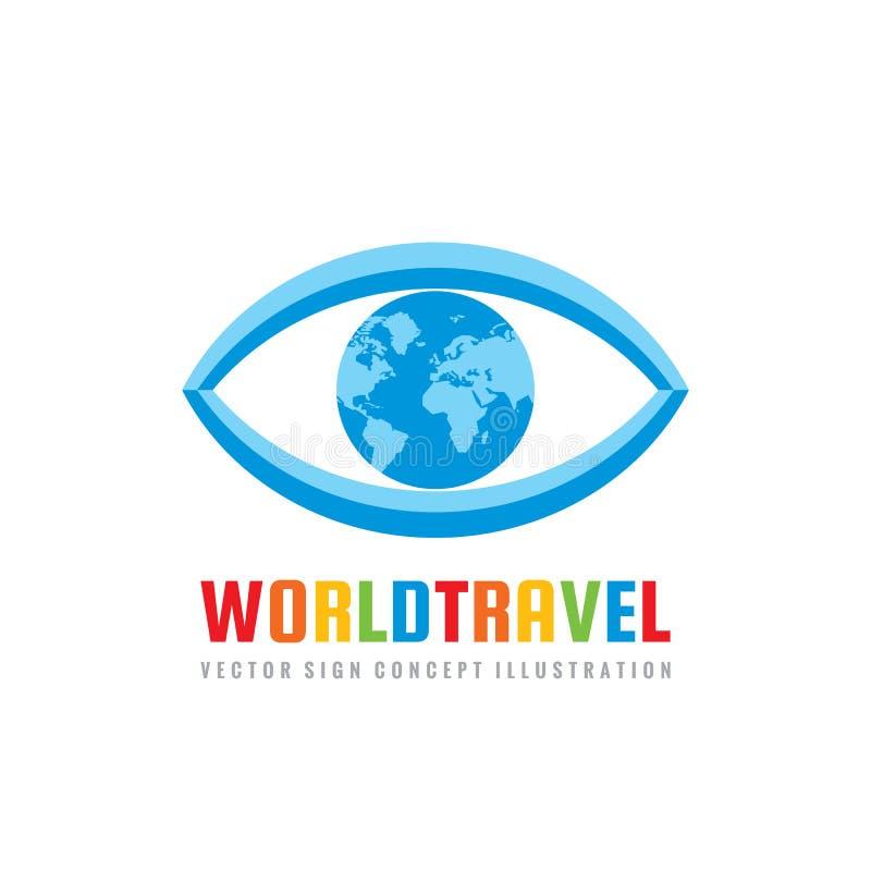 Weltreise - Konzeptlogoschablonen-Vektorillustration Abstraktes Auge mit kreativem Zeichen der Kugel Erdplaneten-Symbol vektor abbildung