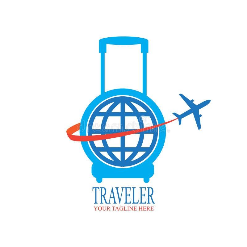 Weltreise-Logoentwurf mit Reisetasche und -flugzeug stock abbildung