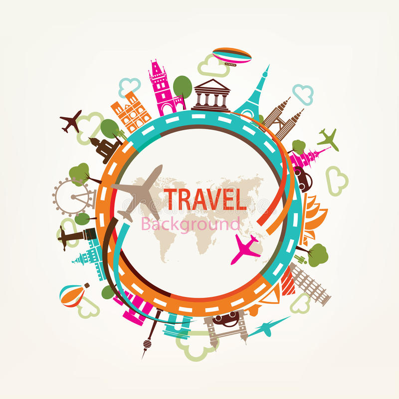 Weltreise, Marksteinschattenbilder lizenzfreie abbildung