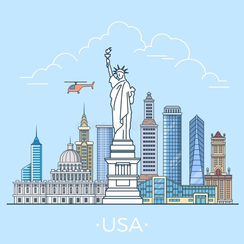 Weltreise in USA gibt lineares flaches Vektor desi an stock abbildung