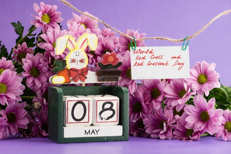 Weltrotes kreuz und Rot Crescent Day auf dem Kalender 8 können lizenzfreie stockbilder