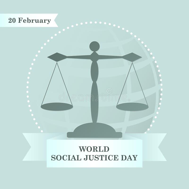 Weltsoziale gerechtigkeit Day, Rechtsanwaltskalen und Band oder Gesetzesservice-Logo, Emblem, Rechtsanwalt am Gesetzeszeichen lizenzfreie abbildung