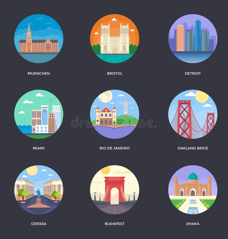 Download Weltstadt-Illustrations-Vektor-Satz Stock Abbildung - Illustration von herzog, kalifornien: 106802814