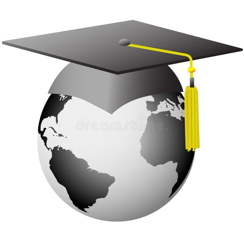 Weltstaffelung-globale graduierte Schutzkappe auf Erde lizenzfreie abbildung