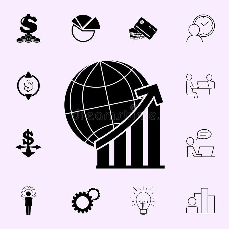 Weltstatistiklinie Ikone Gewinnikonen-Universalsatz f?r Netz und Mobile stock abbildung