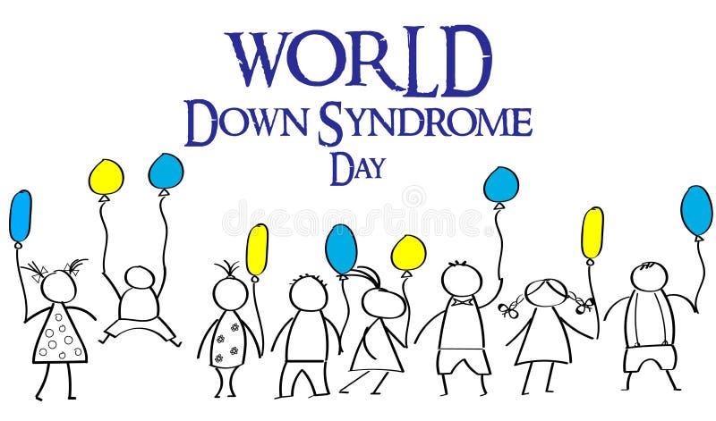 Welttag von Down-Syndrom Gekritzel für Kinder mit farbigem Ba lizenzfreie abbildung