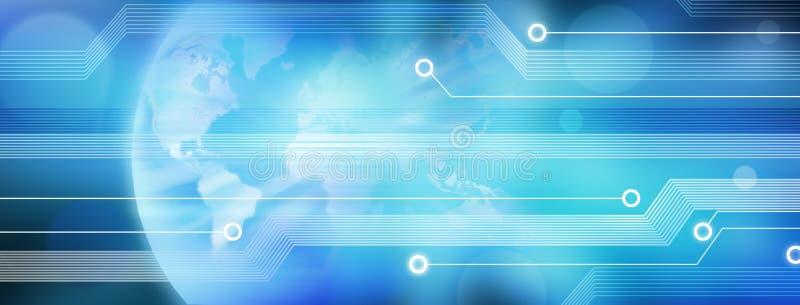Welttechnologie-Geschäfts-Fahnen-Hintergrund lizenzfreie abbildung