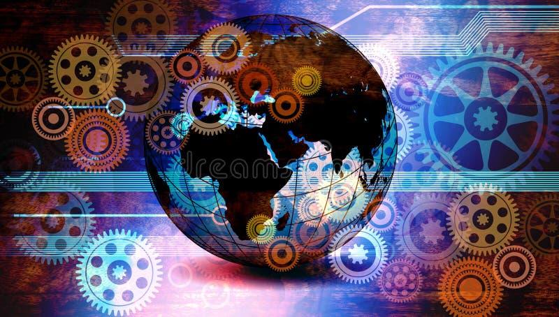 Welttechnologie-Gesch?fts-Fahnen-Hintergrund Verbundene Technologie-Weltkugel Google Auch im corel abgehobenen Betrag vektor abbildung
