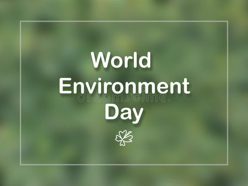 Weltumwelttagkarte mit Blatt und Rahmen auf grünem Hintergrund lizenzfreie stockbilder