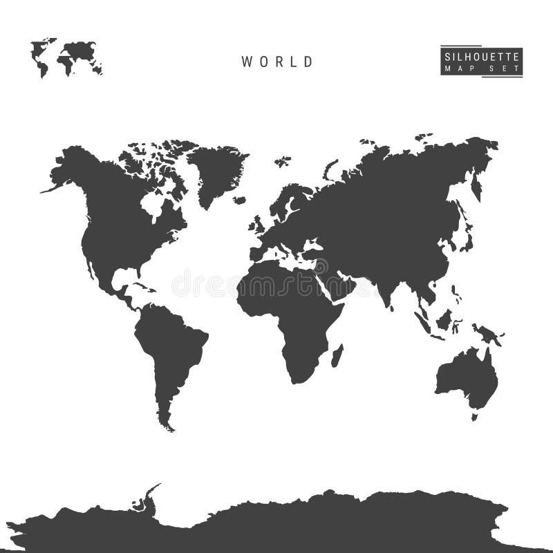 Weltvektor-Karte lokalisiert auf weißem Hintergrund Hoch-ausführliche schwarze Schattenbild-Karte der Welt vektor abbildung