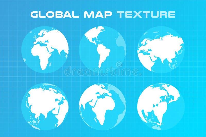 Weltvektorkartenkugel Erdbeschaffenheit stock abbildung