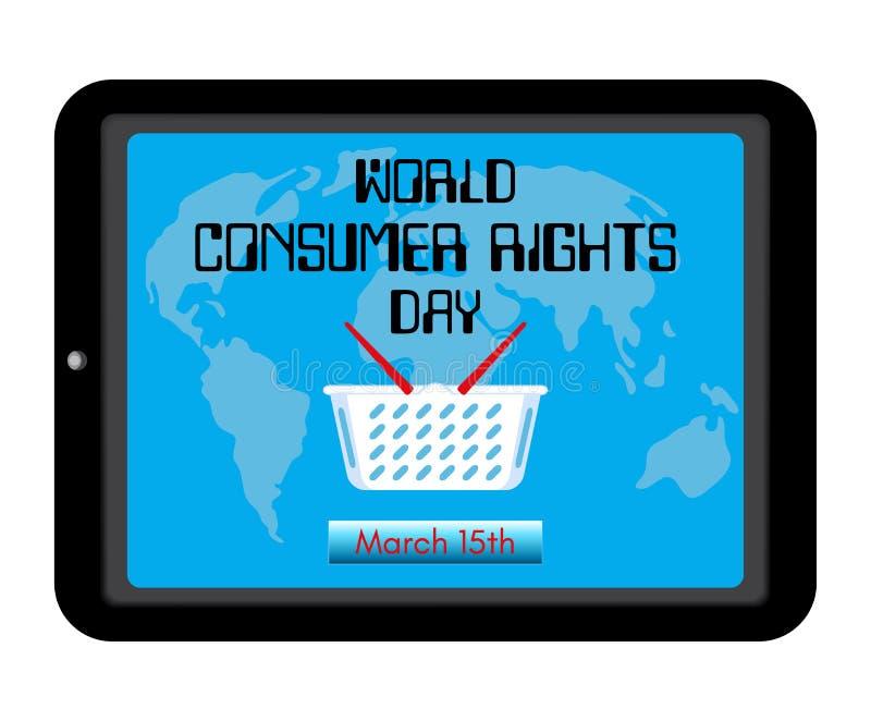 Weltverbraucher-Recht-Tagesthema Einkaufskorb, Weltkarte auf Schirmtabletten-PC-Computer oder Smartphone Erinnerung der Aufschrif vektor abbildung