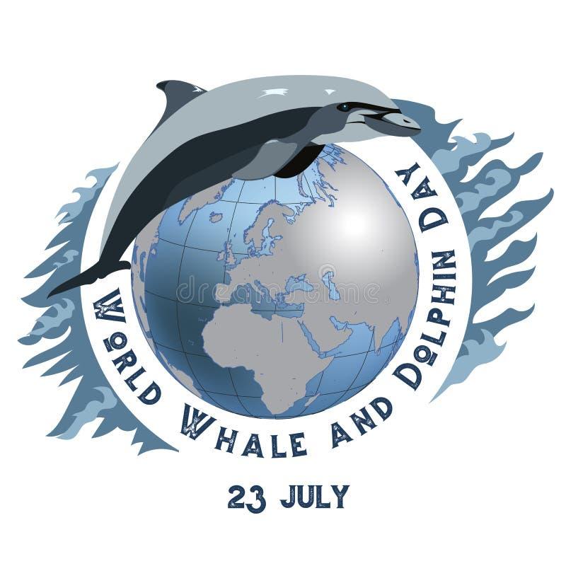 Weltwal-und -delphin-Tag 23. Juli Konzept des ökologischen Feiertags Delphin und Wal kalender Feiertage um vektor abbildung