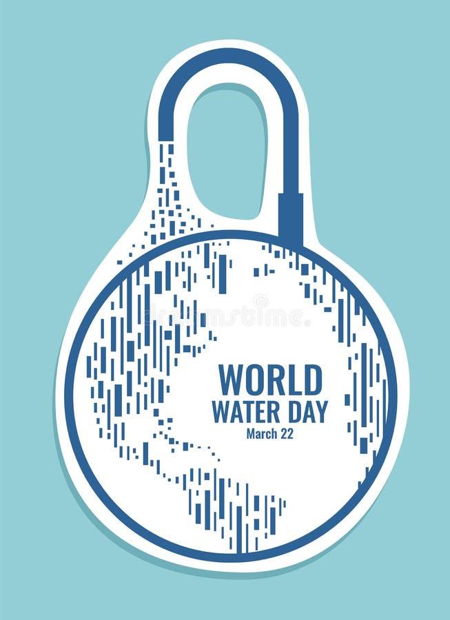 Weltwasser-Tagesfahne mit abstraktem Erdwelt- und -wasserhahnzeichenrechteck-Artvektor entwerfen lizenzfreie abbildung