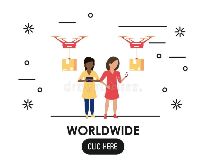 Weltweit klicken Sie hier lizenzfreie abbildung