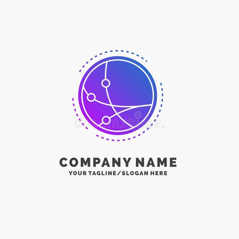 weltweit Kommunikation, Verbindung, Internet, Netz purpurrotes Gesch?ft Logo Template Platz f?r Tagline vektor abbildung