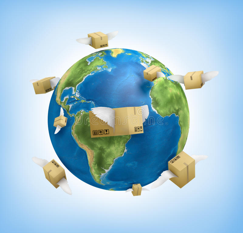Weltweit versenden lizenzfreie abbildung