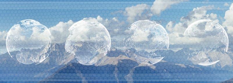 Weltweite Geschäftskonzeptdoppelbelichtung Analysieren eines futuristischen Head-up-display HUD mit einer Weltkarte und einem Dia stockfotos