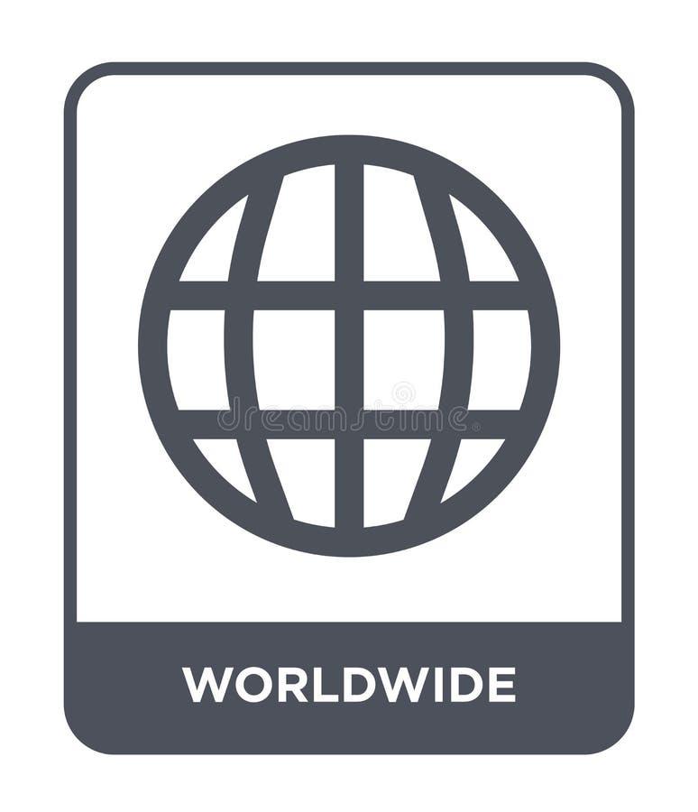 Weltweite Ikone in der modischen Designart Weltweite Ikone lokalisiert auf weißem Hintergrund einfache und moderne Ebene der welt lizenzfreie abbildung