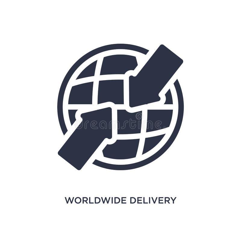 weltweite Lieferungsikone auf weißem Hintergrund Einfache Elementillustration vom Lieferungs- und Logistikkonzept vektor abbildung
