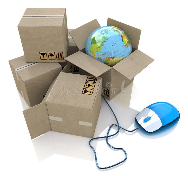 Weltweite on-line-Logistik stock abbildung