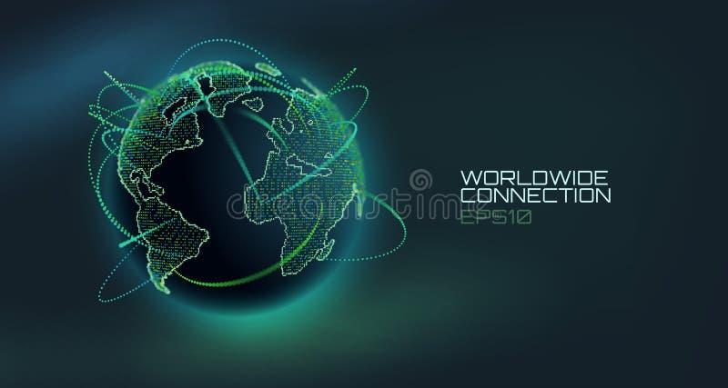 Weltweite Verbindungszusammenfassungs-Vektorkugel Telekommunikationstechniklinie mit Flugbahn von Informationsdaten USA stock abbildung