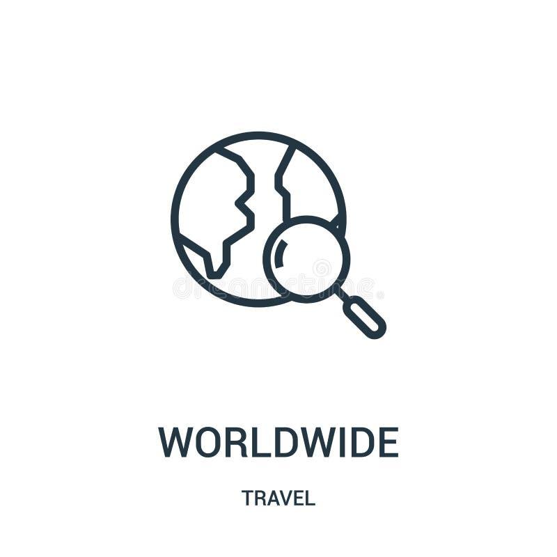 weltweiter Ikonenvektor von der Reisesammlung Dünne Linie weltweite Entwurfsikonen-Vektorillustration Lineares Symbol für Gebrauc lizenzfreie abbildung