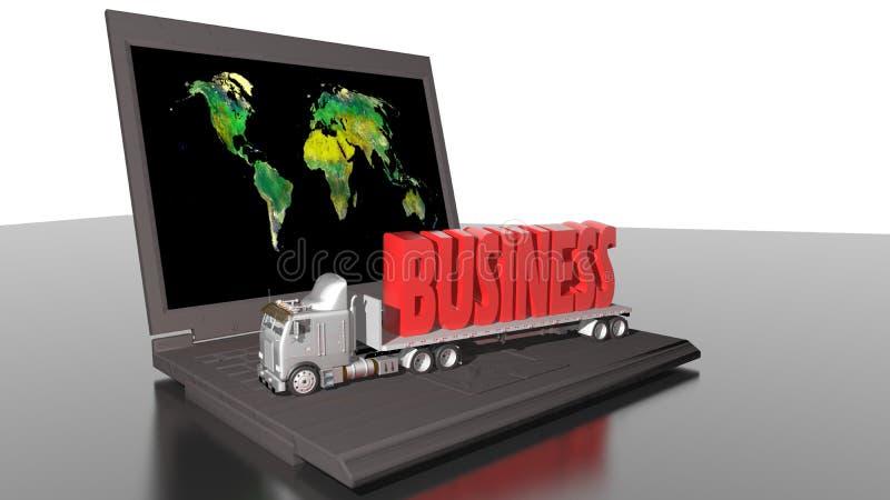 Weltweites Geschäft mit LKW und Computer lizenzfreie abbildung