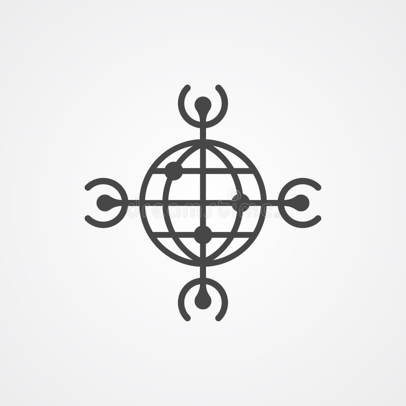 Weltweites Vektorikonen-Zeichensymbol lizenzfreie abbildung