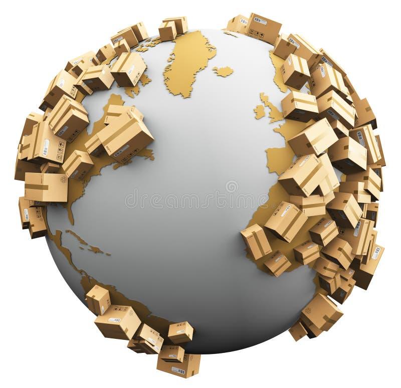Weltweites Versand-, Wiederverwertungs- und Umweltschädigungskonzept stock abbildung