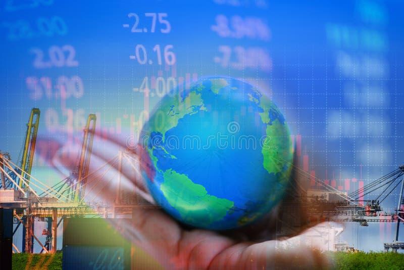 Weltwirtschaftskrise Börsenverlust Devisenhandel Devisenhandelsgraph Investment Global - Export von Kranen und Containerschiffen lizenzfreie stockbilder