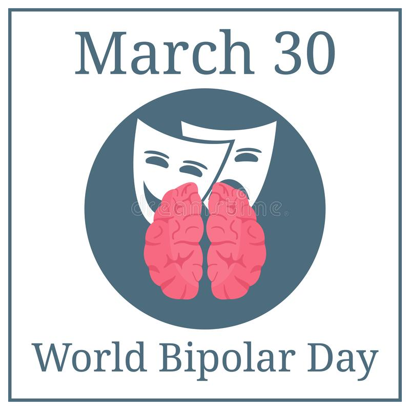 Weltzweipoliger Tag 30. März März-Feiertagskalender Gehirn und Ausdrücke Vektorabbildung für Ihr design lizenzfreie abbildung
