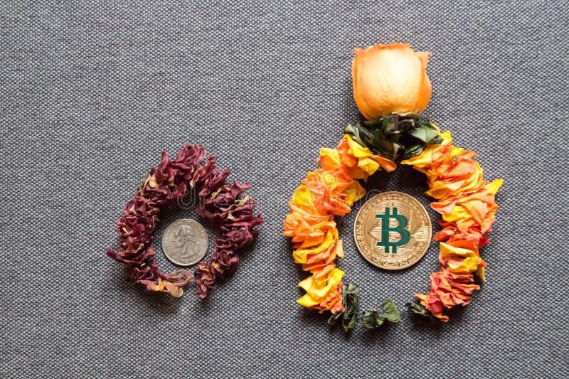 Welvaart van Bitcoin en de dood van conventioneel geld stock foto's