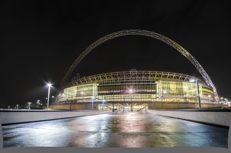 Wembley Stadium in London. Wembley Stadium at night in London, England