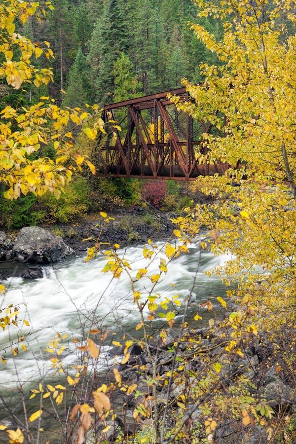 Wenatchee flod och bro royaltyfri fotografi