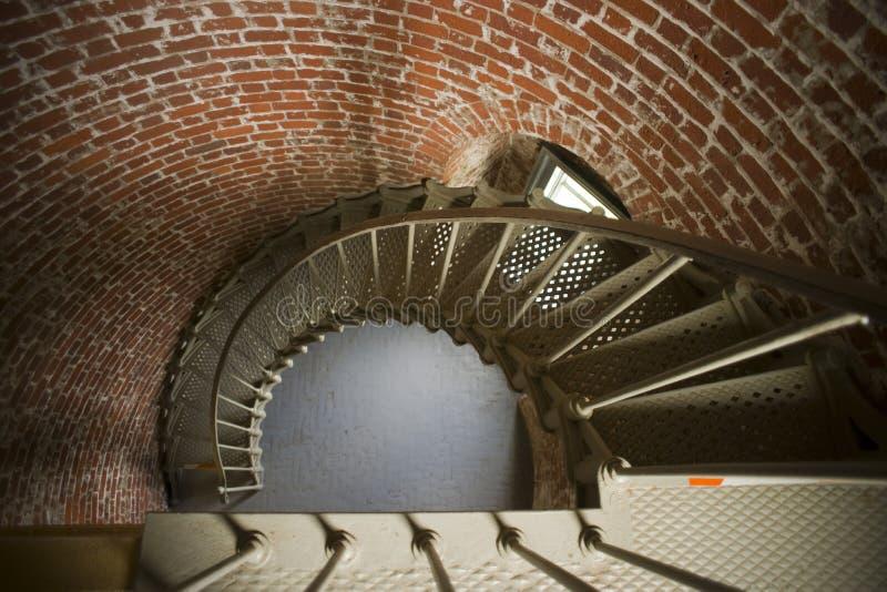 Wendeltreppe-historischer Leuchtturm-Innenarchitektur-Ziegelstein stockbild