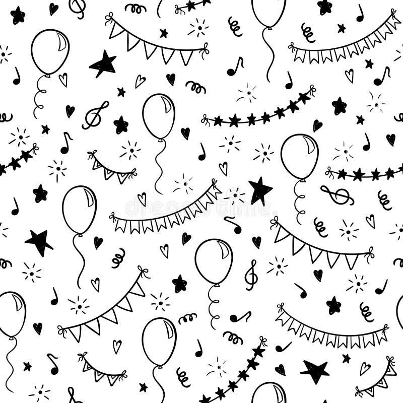 Wendet nahtlose gezeichnete Gekritzelkarikatur des Musters Hand und Symbole der Geburtstagsfeier ein entwerfen Sie Feiertagsgrußk lizenzfreie abbildung