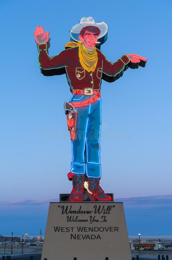 Iconic cowboy, Wendover Will. Wendover Will welcomes visitors to West Wendover, Nevada, on the edge of the Bonneville Salt Flats stock photo
