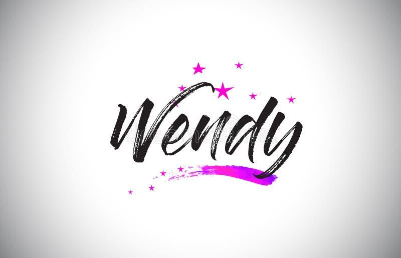 Wendy Handwritten Word Font con il vettore vibrante dei coriandoli e di Violet Purple Stars illustrazione vettoriale