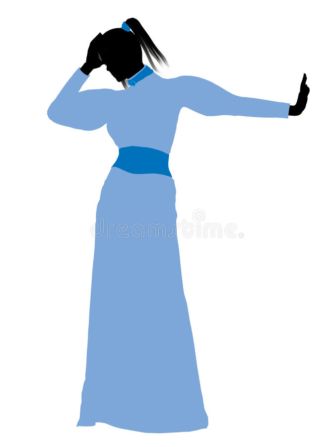 Wendy Of Peter Pan Silhouette Illustration Stock Image