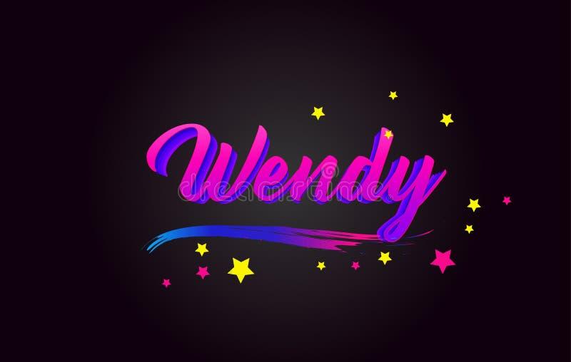 Wendy Purple Handwritten che segna tipografia con lettere Parola per il logotype, distintivo, icona, carta, cartolina, logo, inse royalty illustrazione gratis