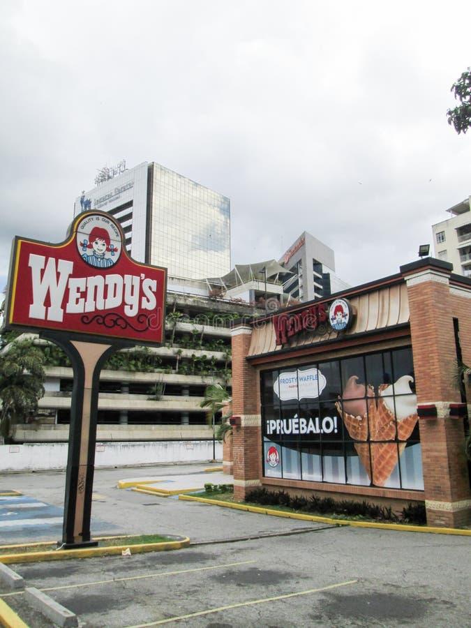 Wendy`s fast food restaurant, at El Recreo Shopping Center, on Los Palos Grandes, Caracas, Venezuela.  stock image