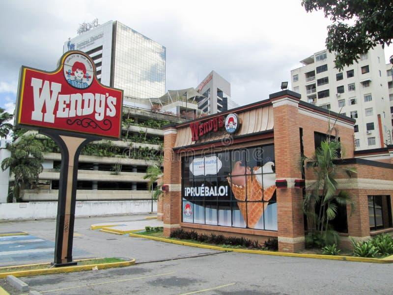 Wendy`s fast food restaurant, at El Recreo Shopping Center, on Los Palos Grandes, Caracas, Venezuela.  royalty free stock photo