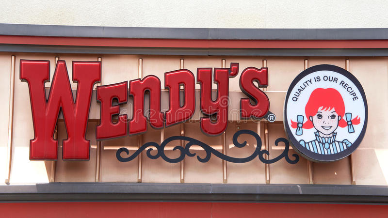 Wendy`s Fast Food Restaurant sign stock photo