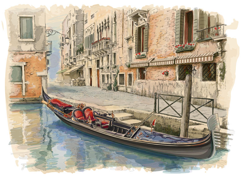 Wenecja Antyczny budynek & gondola royalty ilustracja